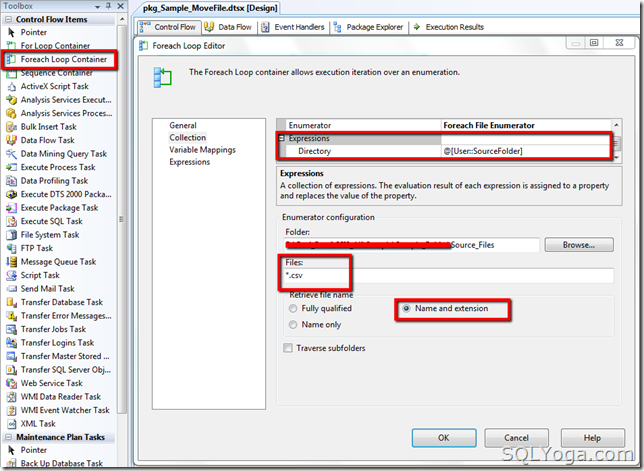 SQL SERVER: SSIS - Rename and move files from source folder to destination folder